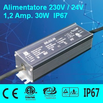 Power Supply 24V 1,2 Amp 30W waterproof IP67