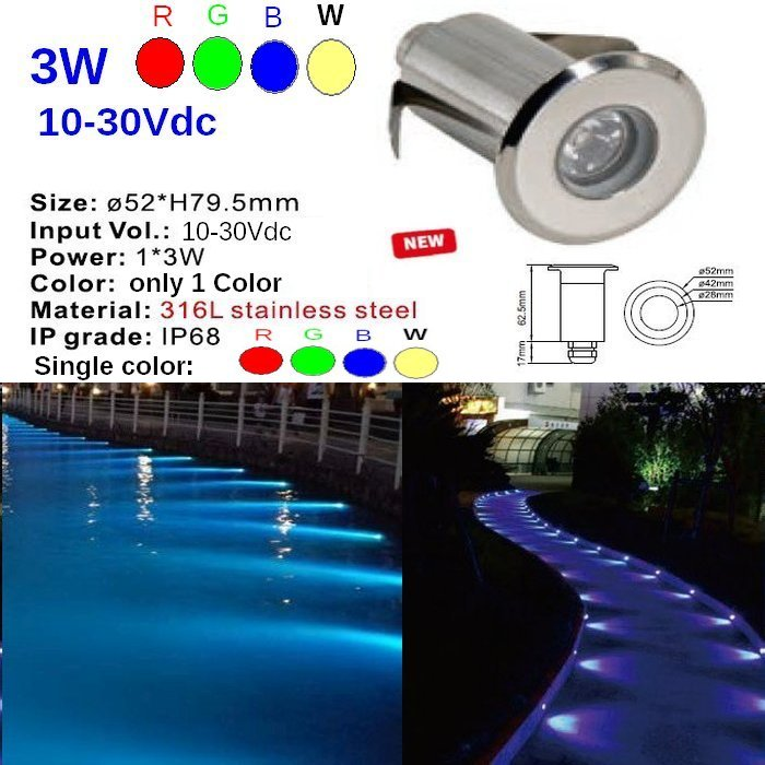 Led 3W Underwater for Ports, Boat, Swimmingpool and garden