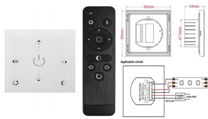 Touch panel White dimmer CCT controller with remote control