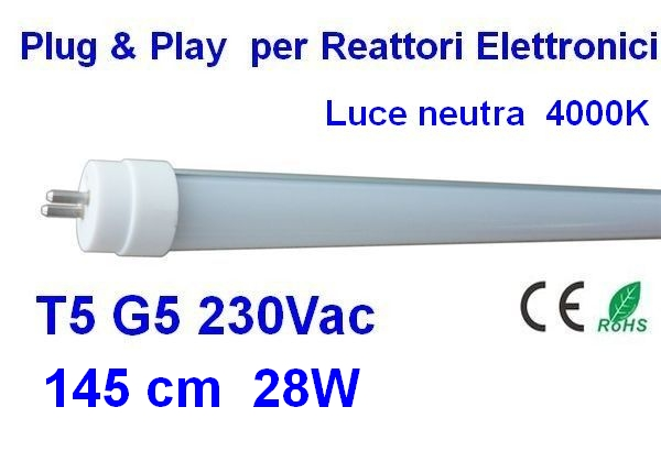 TUBO LED T5 145 cm Plug & Play luce neutra 4000 K