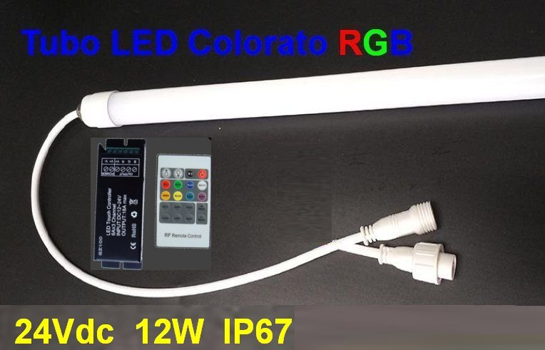Led tube color rgb 60 cm 24vdc