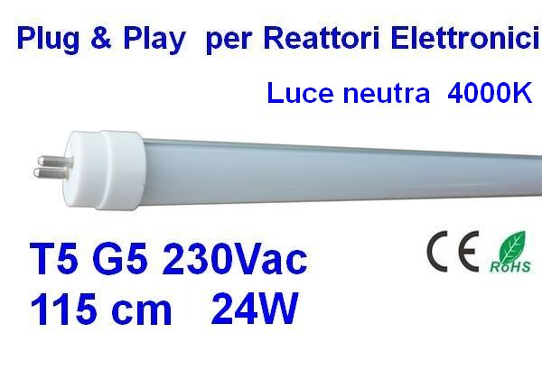 T5 Led tube, G5 230 vac 115 cm Plug & Play 4000K
